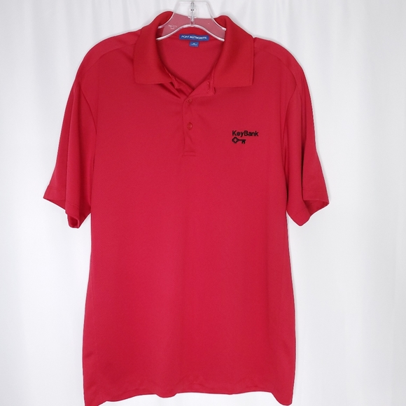 Port Authority Other - Port Authority red Key Bank golf polo shirt sz M